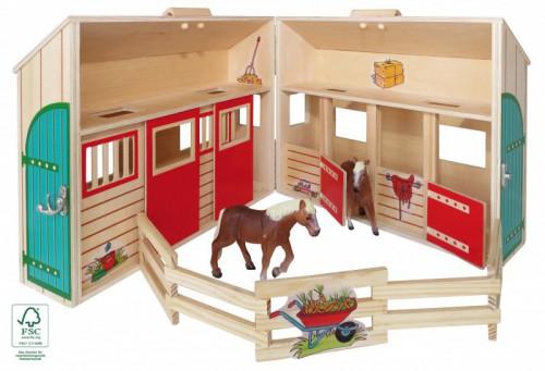 pferdestall bauernhof aus holz tragbar im koffer mit 2. Black Bedroom Furniture Sets. Home Design Ideas
