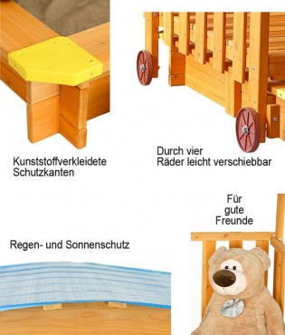 spielhaus mit sandkasten und dach t v gepr fte sicherheit holz fsc ebay. Black Bedroom Furniture Sets. Home Design Ideas
